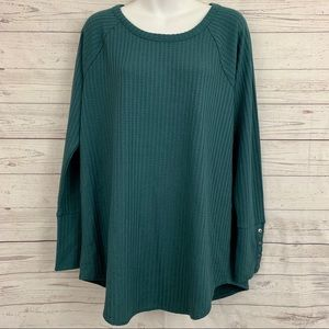 NWT Chaser thermal waffle knit tunic top teal cuff